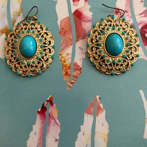 blue and gold target earrings